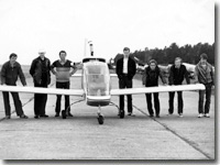 OSKBES MAI team and Elf airplane. Borki airfield, 1984
