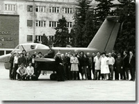 OSKBES staff near Foton airplane. MAI, 1986