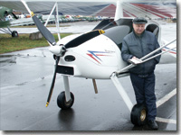 V. Gordiyenko after MAI-223 first flight. Chyornoye airfield, Moscow reg., 2004